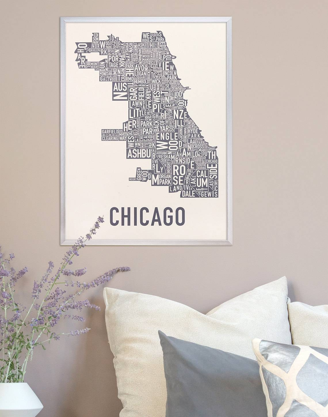 Chicago Neighborhood Map Poster The Original Chicago For Most Current Chicago Map Wall Art (View 15 of 20)