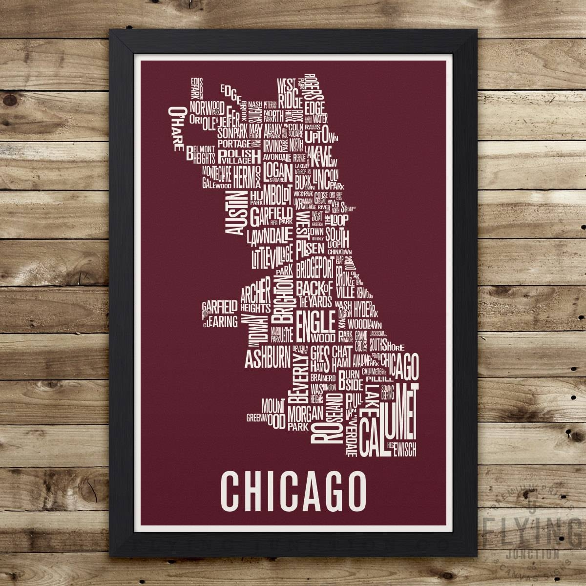 Featured Photo of Chicago Neighborhood Map Wall Art
