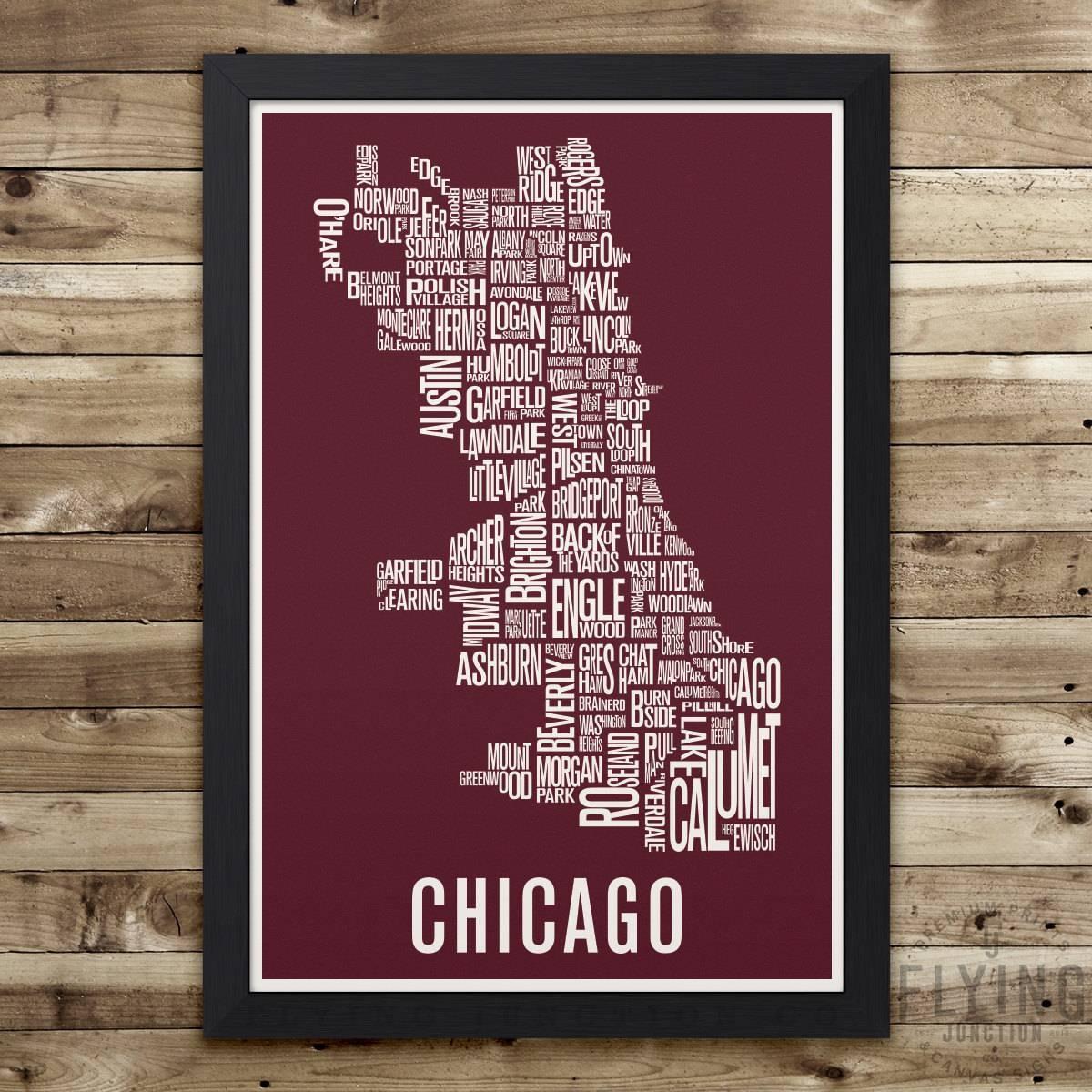 Chicago Neighborhood Map Print Chicago Wall Art Chicago in Recent Chicago Neighborhood Map Wall Art