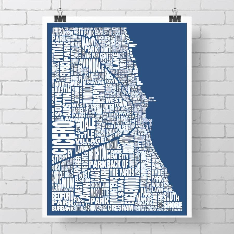 Chicago Neighborhood Map Print Custom Chicago Typography Map Intended For Most Popular Chicago Neighborhood Map Wall Art (View 13 of 20)