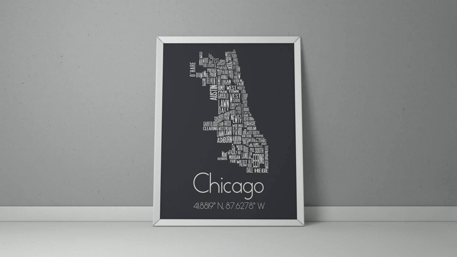 Chicago Typography Chicago Map Art Chicago Poster Chicago In Most Current Chicago Neighborhood Map Wall Art (View 11 of 20)