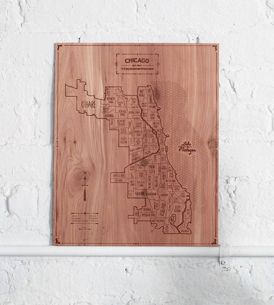 Chicago Wood Map | Art Art Pieces | Neighborwoods | Scoutmob Intended For Most Recently Released Chicago Map Wall Art (View 14 of 20)