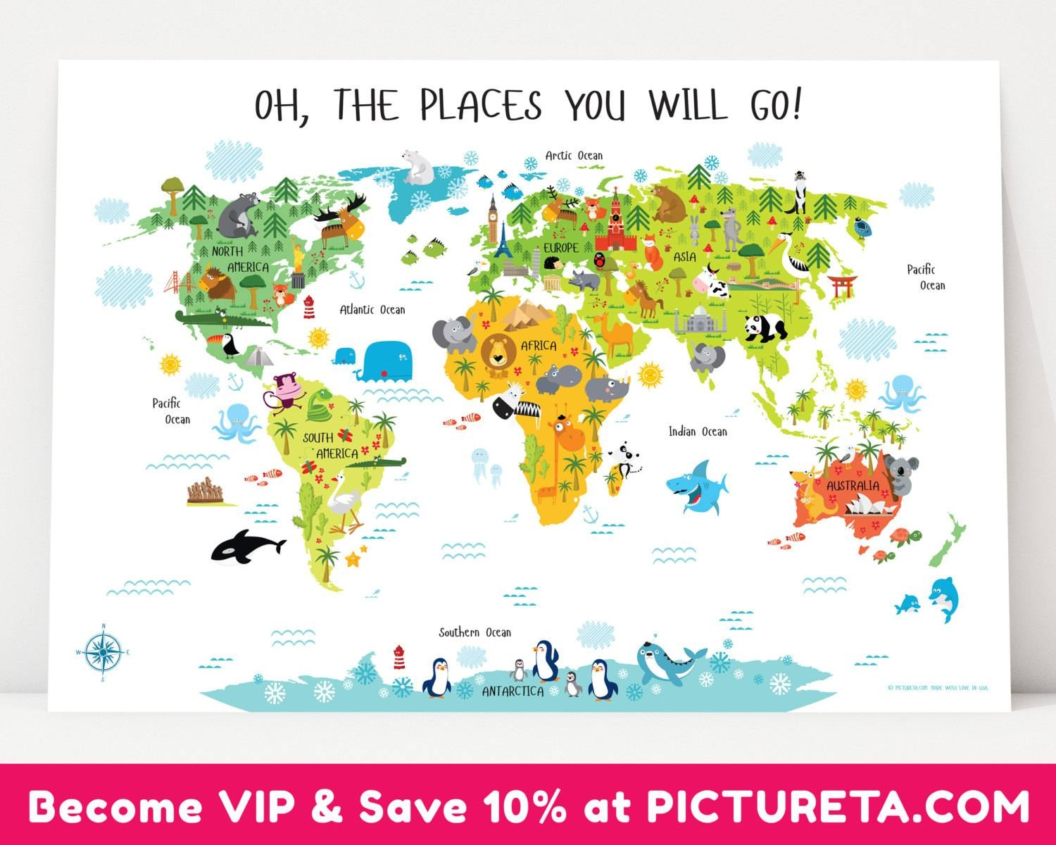 Childrens World Map Poster Unique Baby Gifts First Birthday Pertaining To Most Up To Date Kids World Map Wall Art (View 5 of 20)