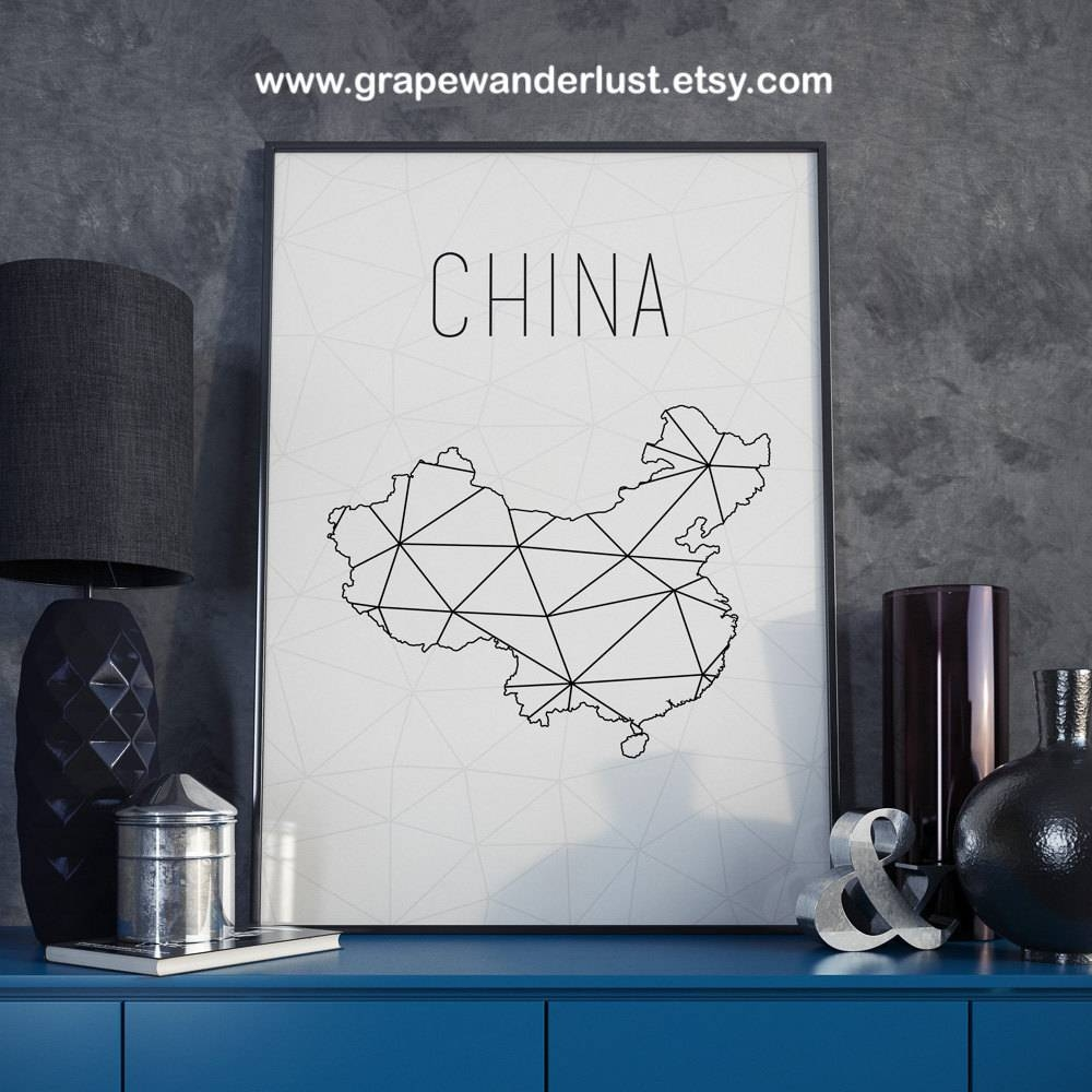 China Map China Art China Wall Art China Printable China Print In Best And Newest Boston Map Wall Art (View 9 of 20)
