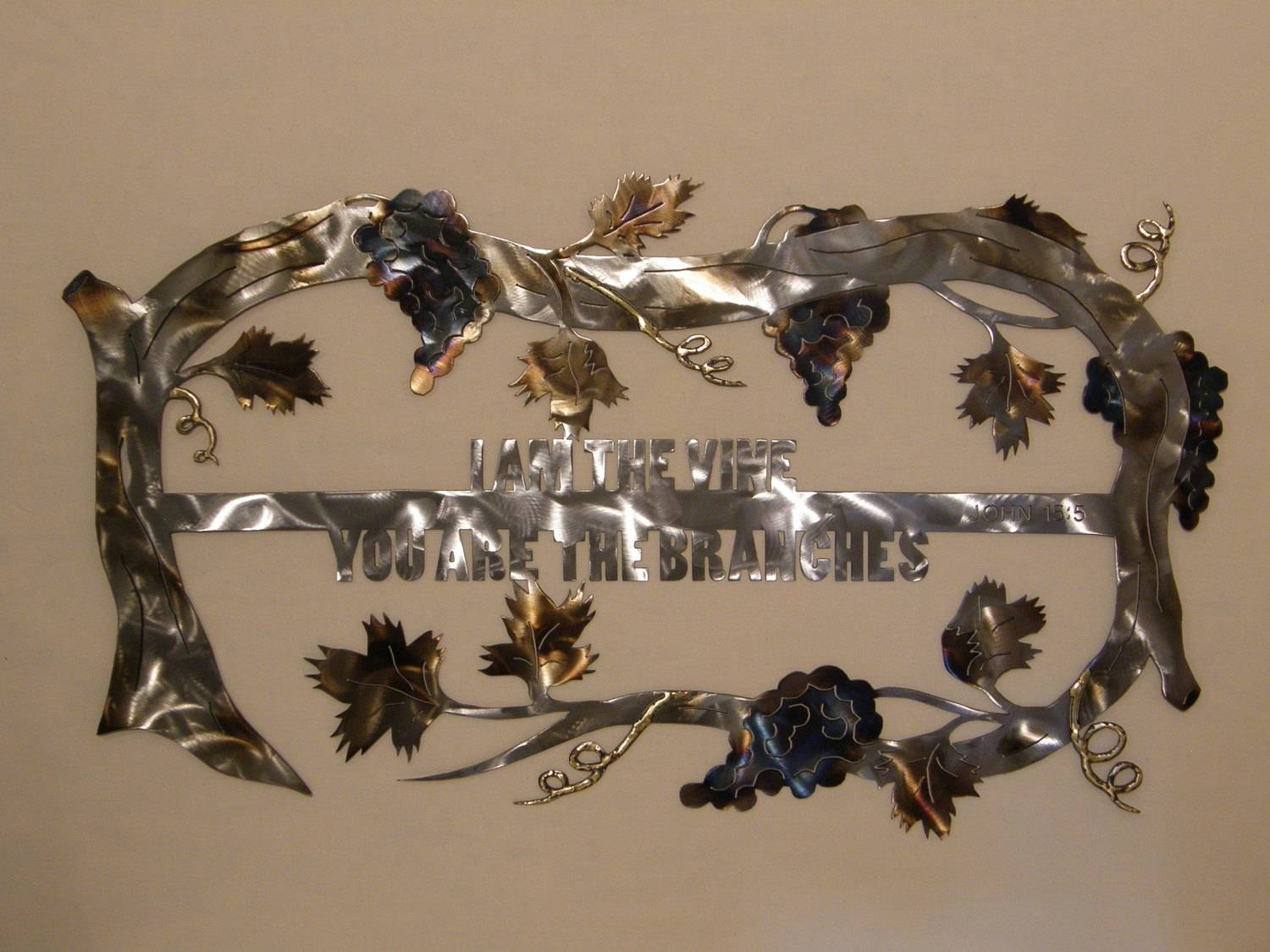 Christian Grape Vine Metal Wall Art Sculpture In Current Metal Wall Art Sculptures (View 5 of 20)