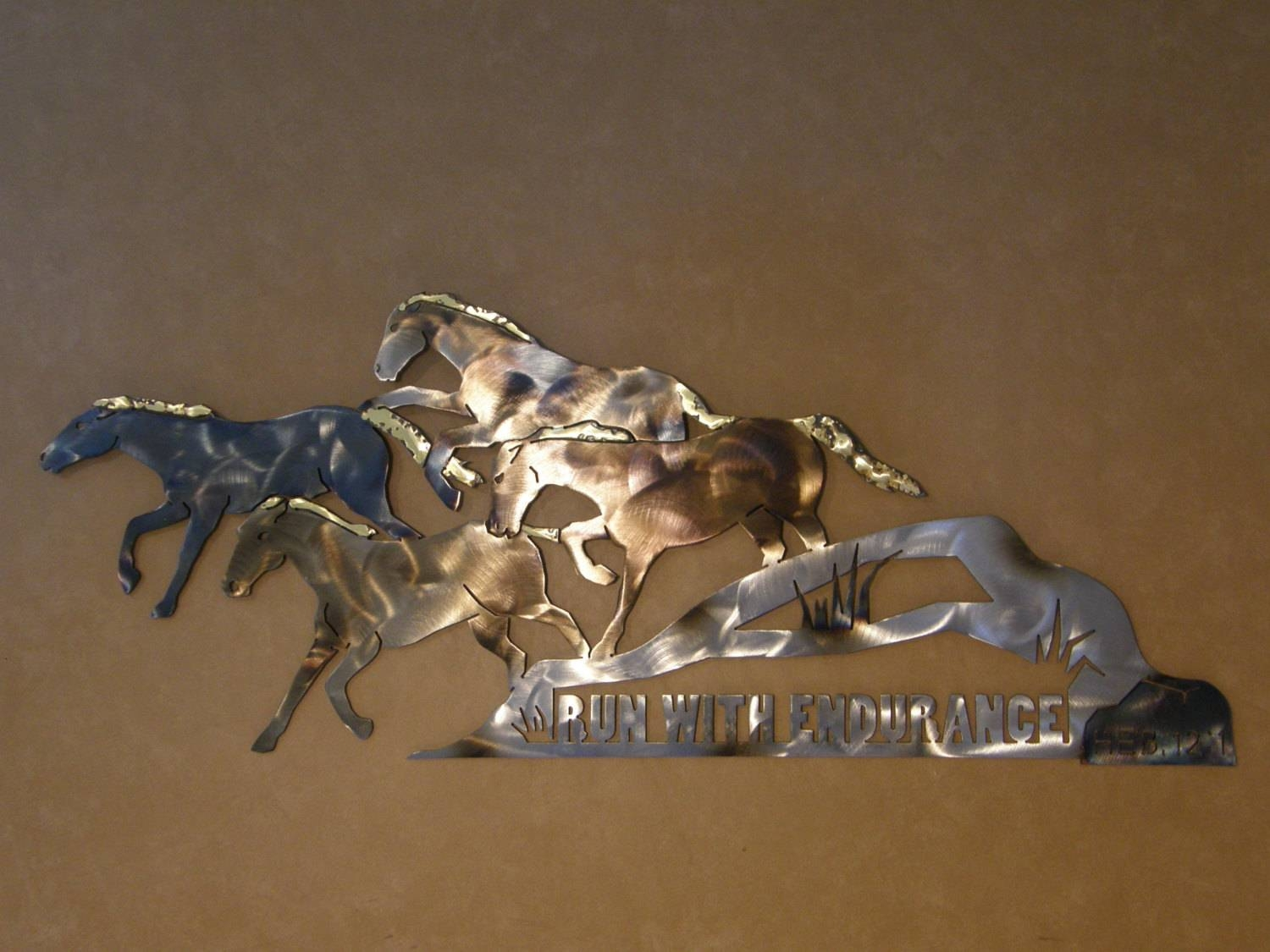 Christian Metal Wall Art Sculpture Of Running Horses Regarding Recent Horses Metal Wall Art (View 1 of 20)