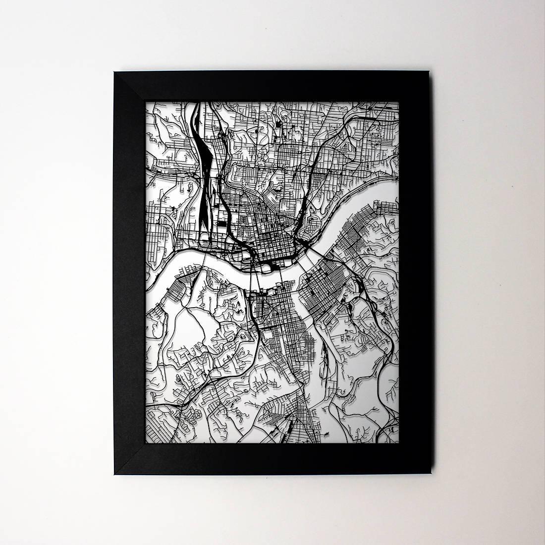 Cincinnati Map Laser Cut Map Cincinnati Ohio Framed Map Of Intended For Recent Framed Map Wall Art (View 4 of 20)