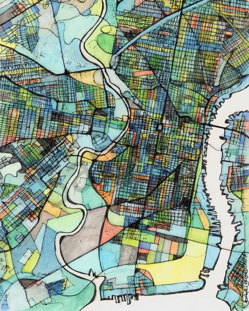 City Map For Sale Online  Abstract Art Print Of Philadelphia Pa Inside Best And Newest Philadelphia Map Wall Art (View 3 of 20)