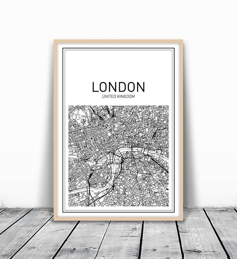 City Map Print Map Wall Art London Map Print London City Within Recent City Map Wall Art (View 3 of 20)