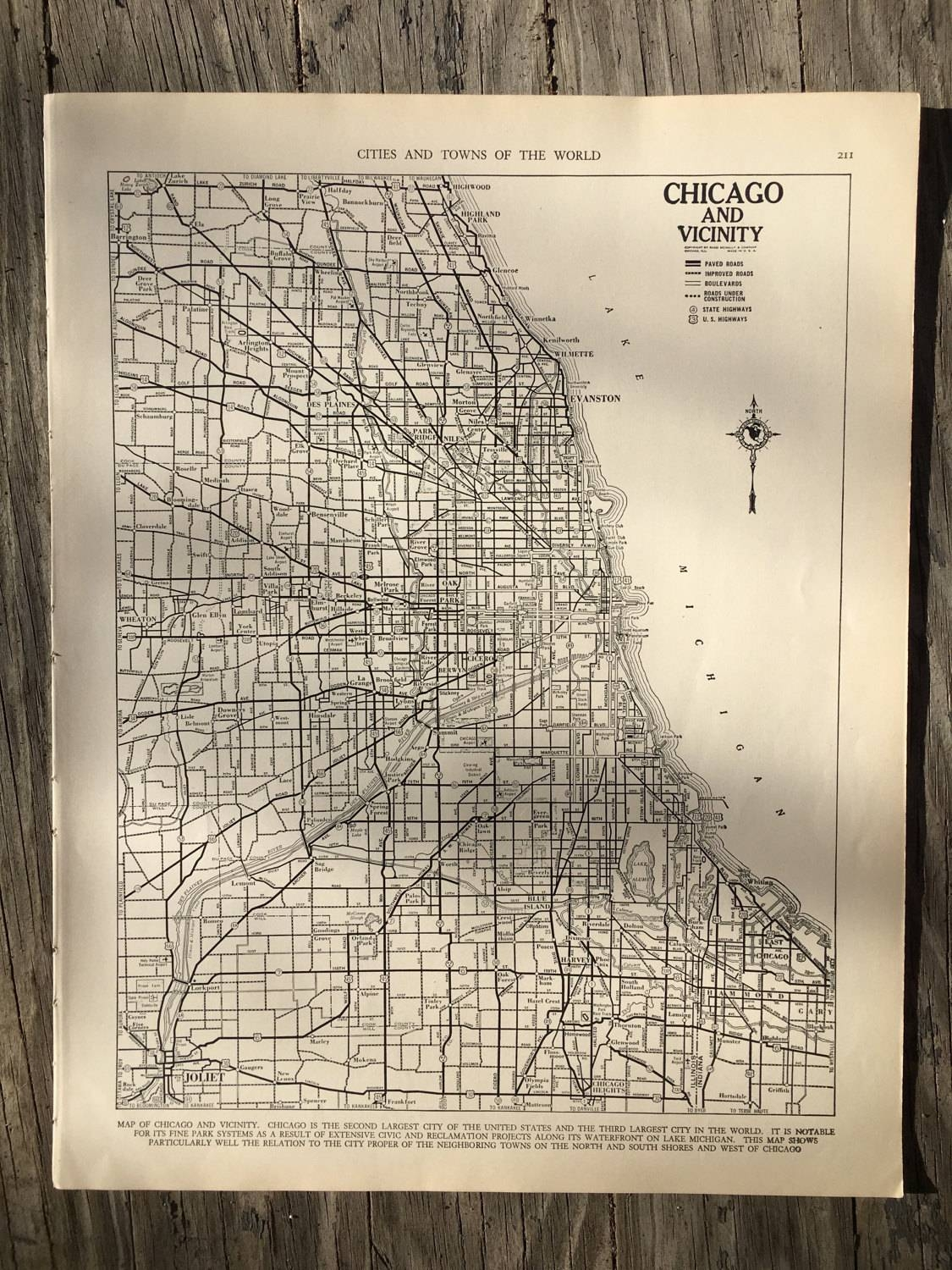 City Of Chicago Map / Vintage Map Decor / City Map Wall Art / With Regard To Latest Chicago Map Wall Art (View 8 of 20)