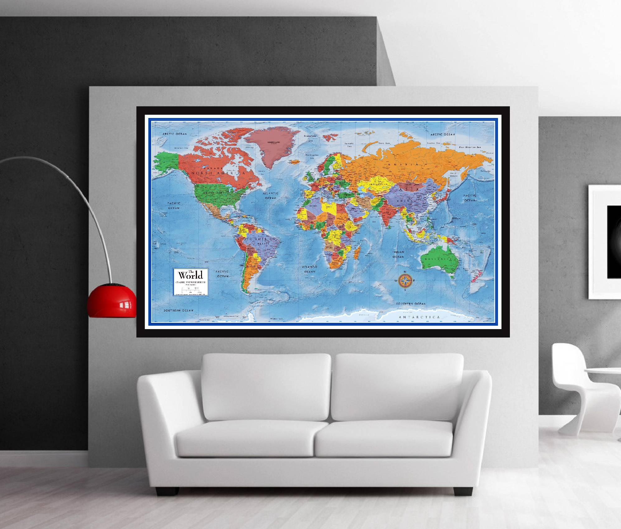 Classic Premier 3D World Wall Map Poster Mural – Swiftmaps Pertaining To Most Popular Florida Map Wall Art (View 2 of 20)