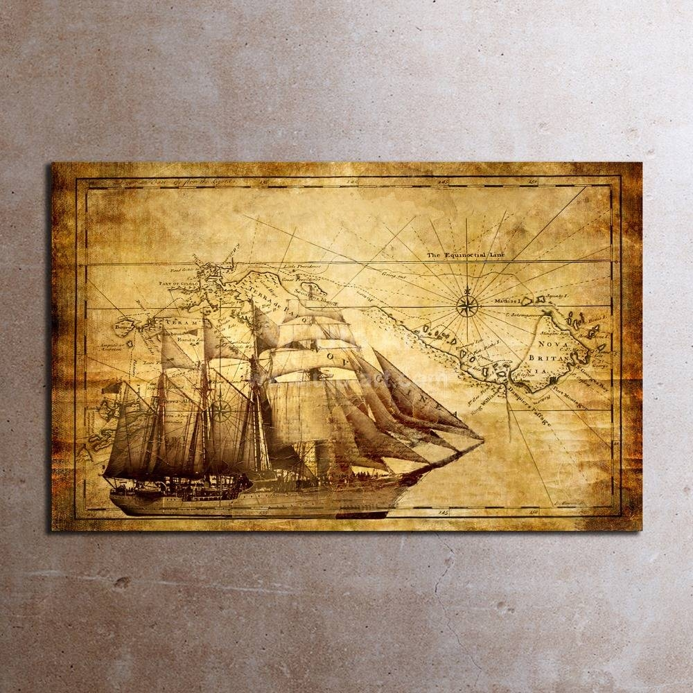 Classic Wall Art Prints Painting World Map Canvas Art Home Pertaining To Best And Newest Canvas Map Wall Art (View 3 of 20)