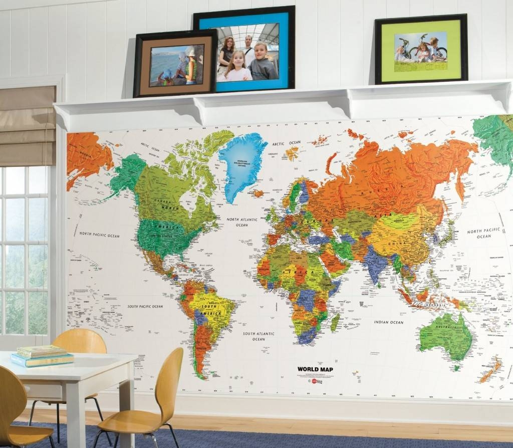 Classrooms Decor | Colorful Kids Rooms Pertaining To Latest World Map Wall Art For Kids (View 5 of 20)