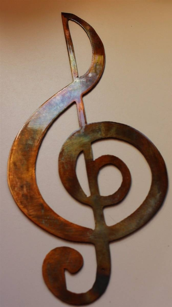 Clef Musical Note Metal Wall Art Within Best And Newest Musical Metal Wall Art (View 7 of 20)