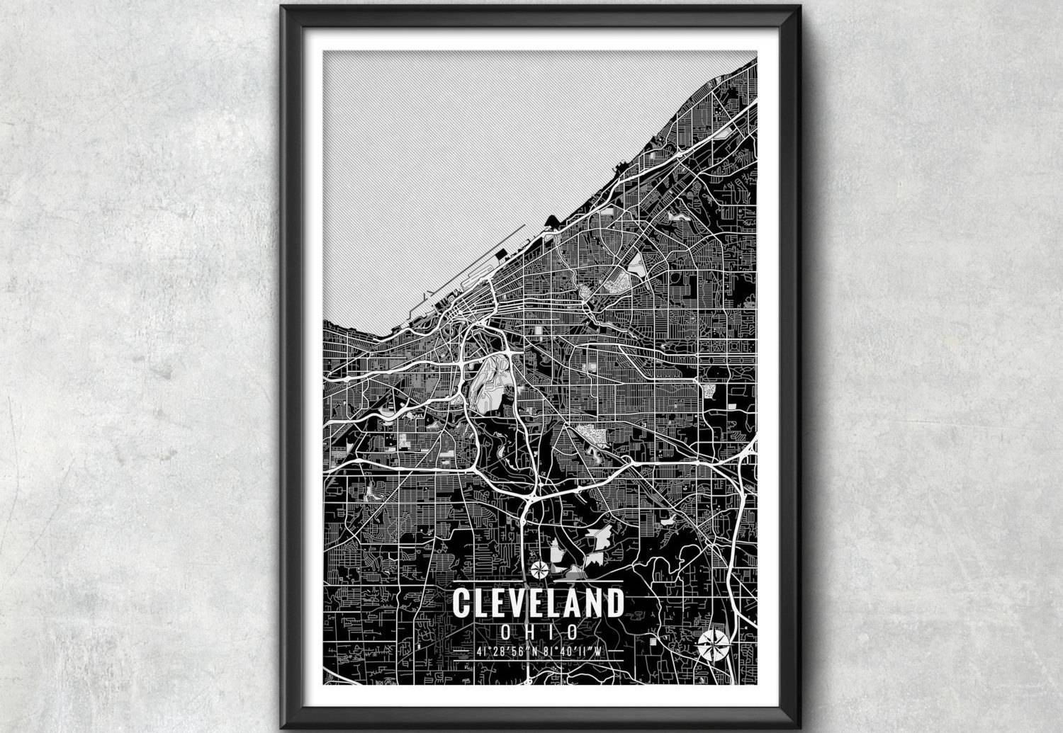 Cleveland Ohio Map With Coordinates Cleveland Map Map Art With Latest Portland Map Wall Art (View 1 of 20)
