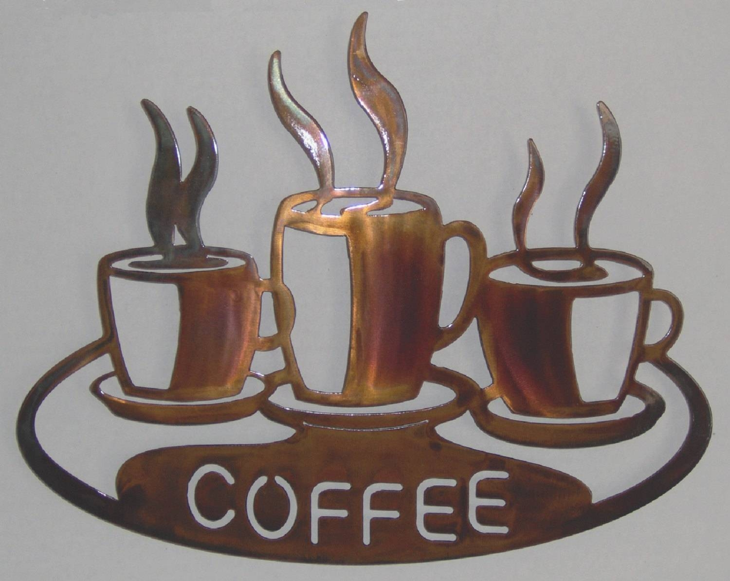 Coffee Cups On Platter Metal Wall Art Inside Most Up To Date Coffee Cup Metal Wall Art (View 7 of 20)