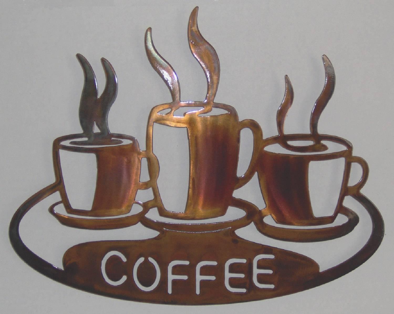 Coffee Cups On Platter Metal Wall Art Inside Most Up To Date Coffee Cup Metal Wall Art (View 10 of 20)