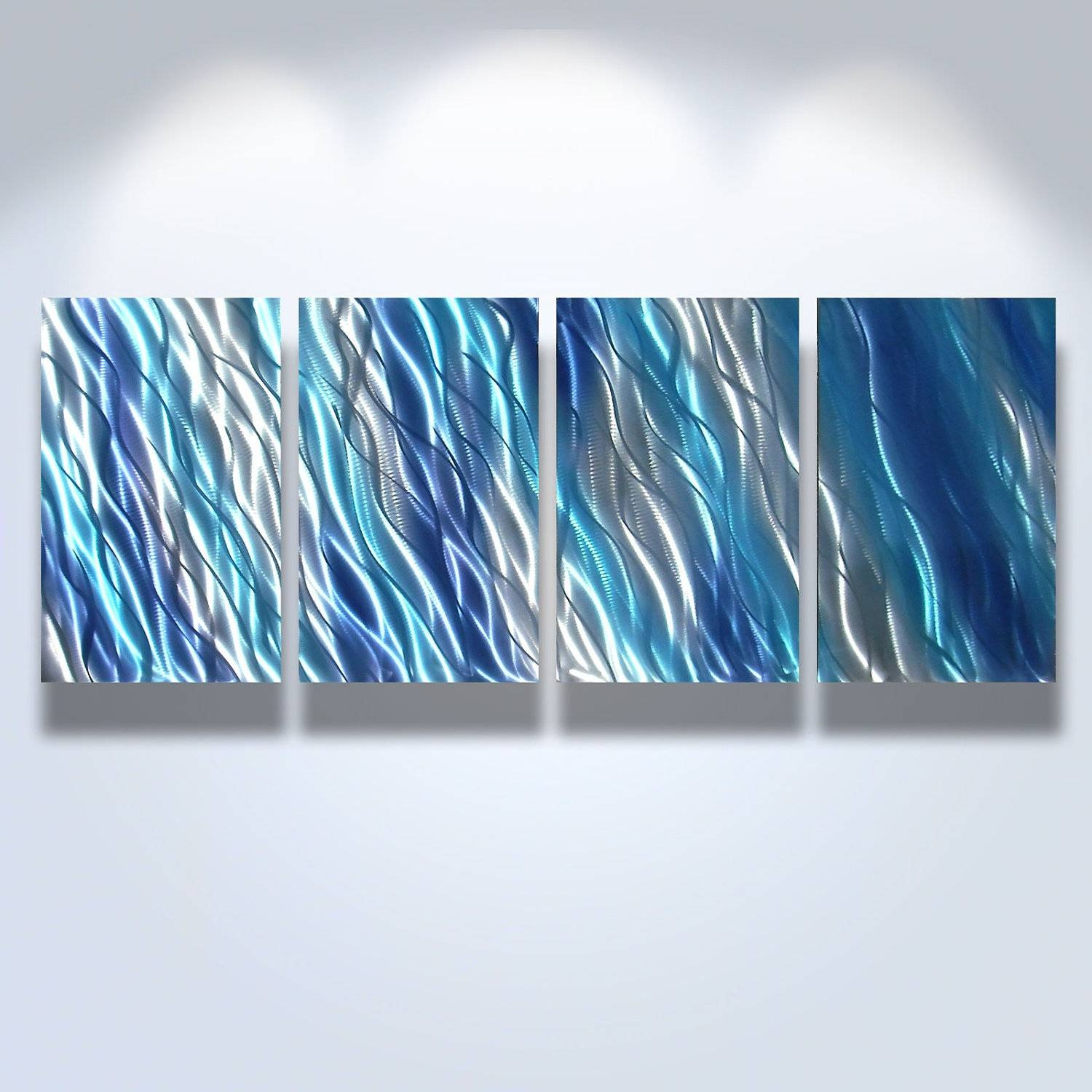 Cool Blue Abstract Metal Art Wall Decor~ Popular Home Interior Inside Most Current Blue Metal Wall Art (View 9 of 20)