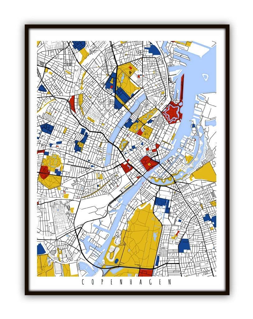 Copenhagen Map Art / Copenhagen Denmark Wall Art / Print / With Regard To Best And Newest Pittsburgh Map Wall Art (View 9 of 20)