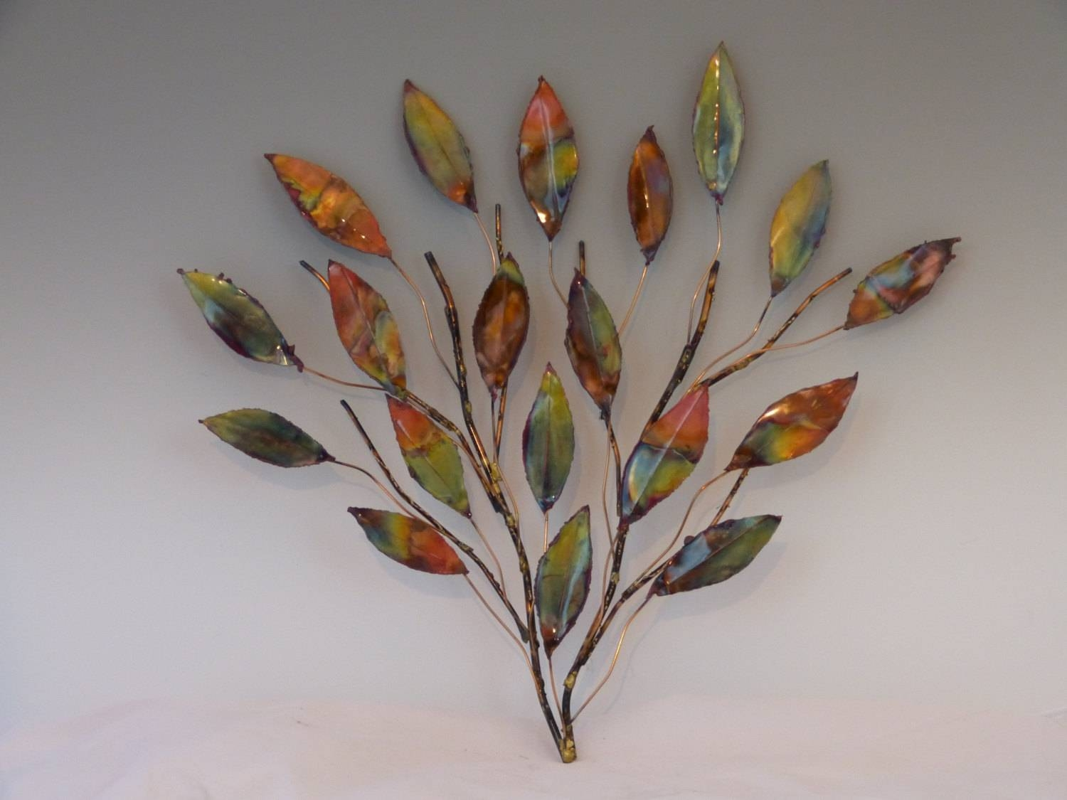 Copper Branch Sculpture: Metal Sculpture Home Decor Wall Art Inside Most Recent Leaf Metal Wall Art (View 4 of 20)