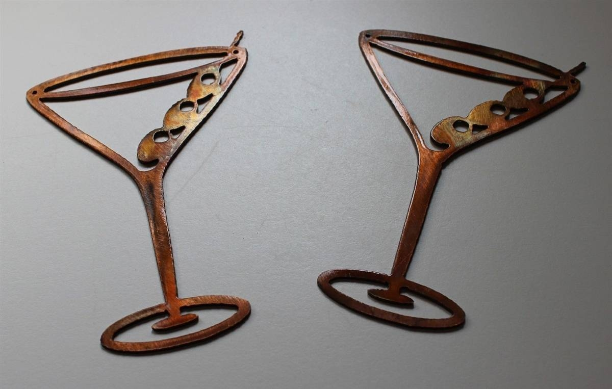 Copper/bronze Martini Glasses Metal Wall Art Decor Set Of 2 Intended For Best And Newest Bronze Metal Wall Art (View 12 of 20)