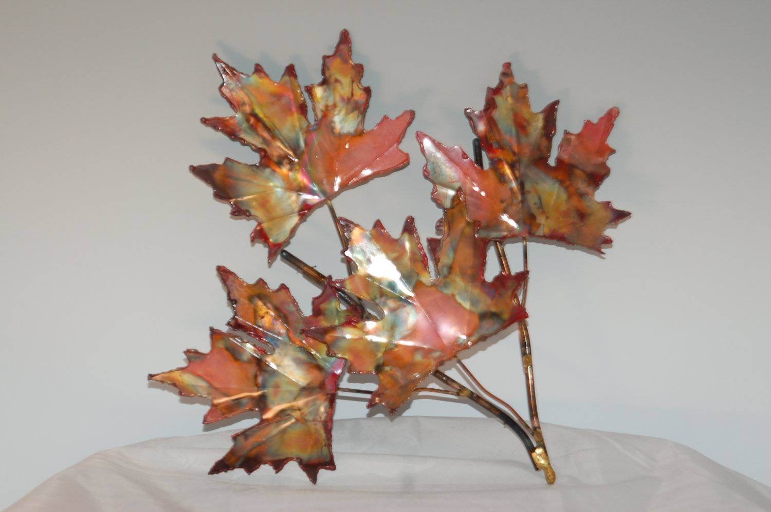 Copper Maple Leaf Branch: Handcrafted Metal Sculpturehome With Most Current Leaves Metal Wall Art (View 6 of 20)