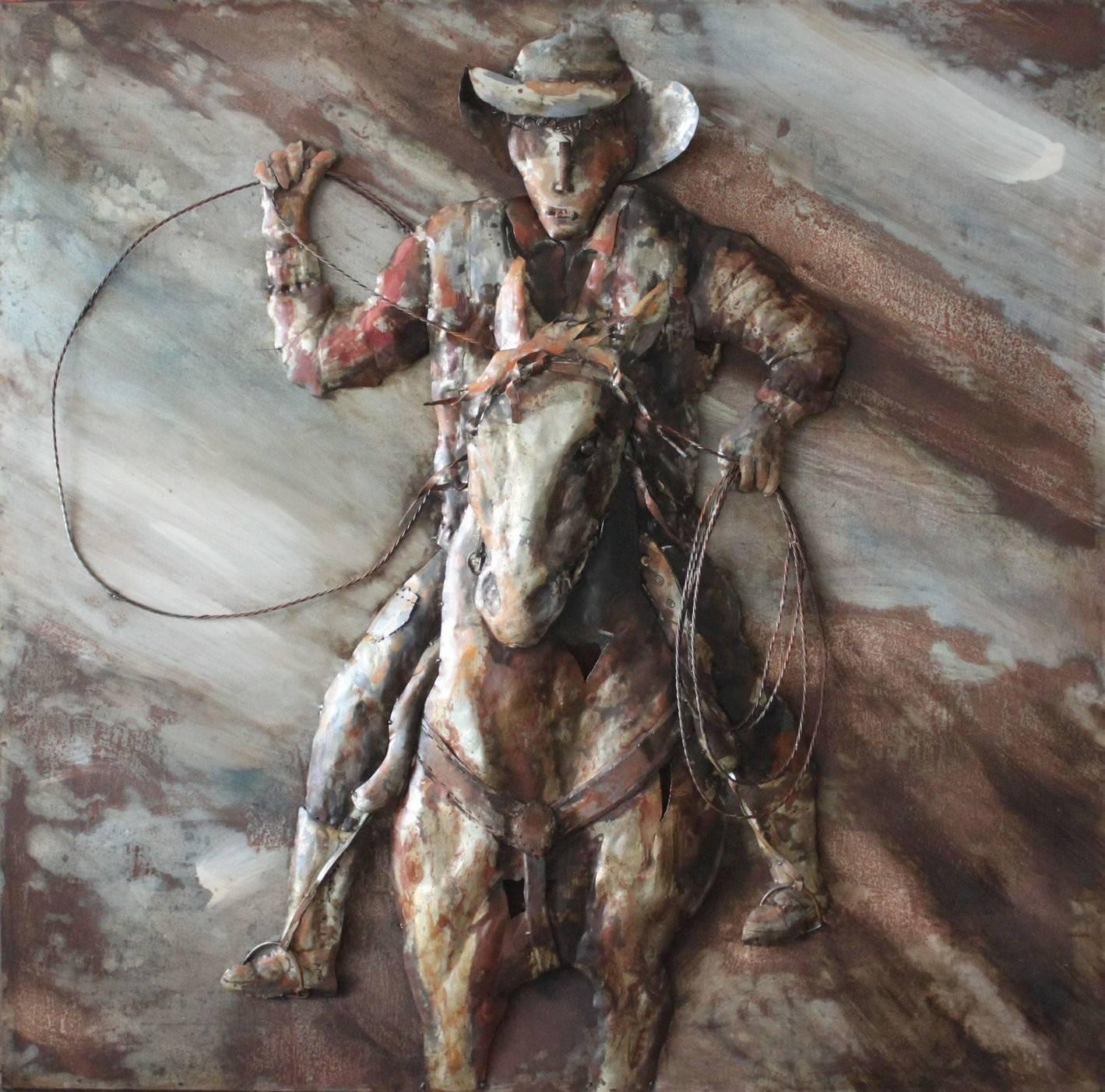 Cowboy Horse Front 3d Metal Wall Art Hand Painted – Metal Wall Art Throughout Latest Cowboy Metal Wall Art (View 2 of 20)