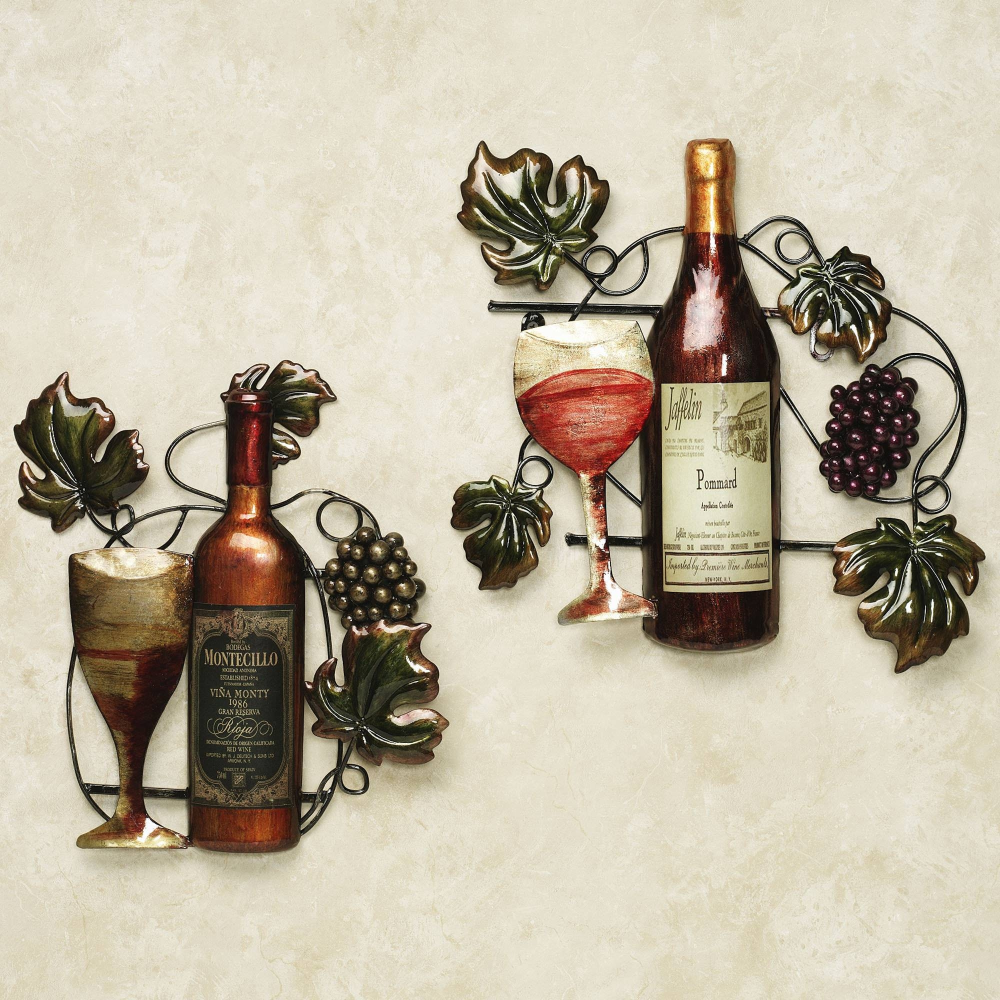 Cozy Ideas Kitchen Wall Decor Wine With Hooks White Metal Red Ebay Throughout Most Recent Metal Wall Art For Kitchen (View 3 of 20)