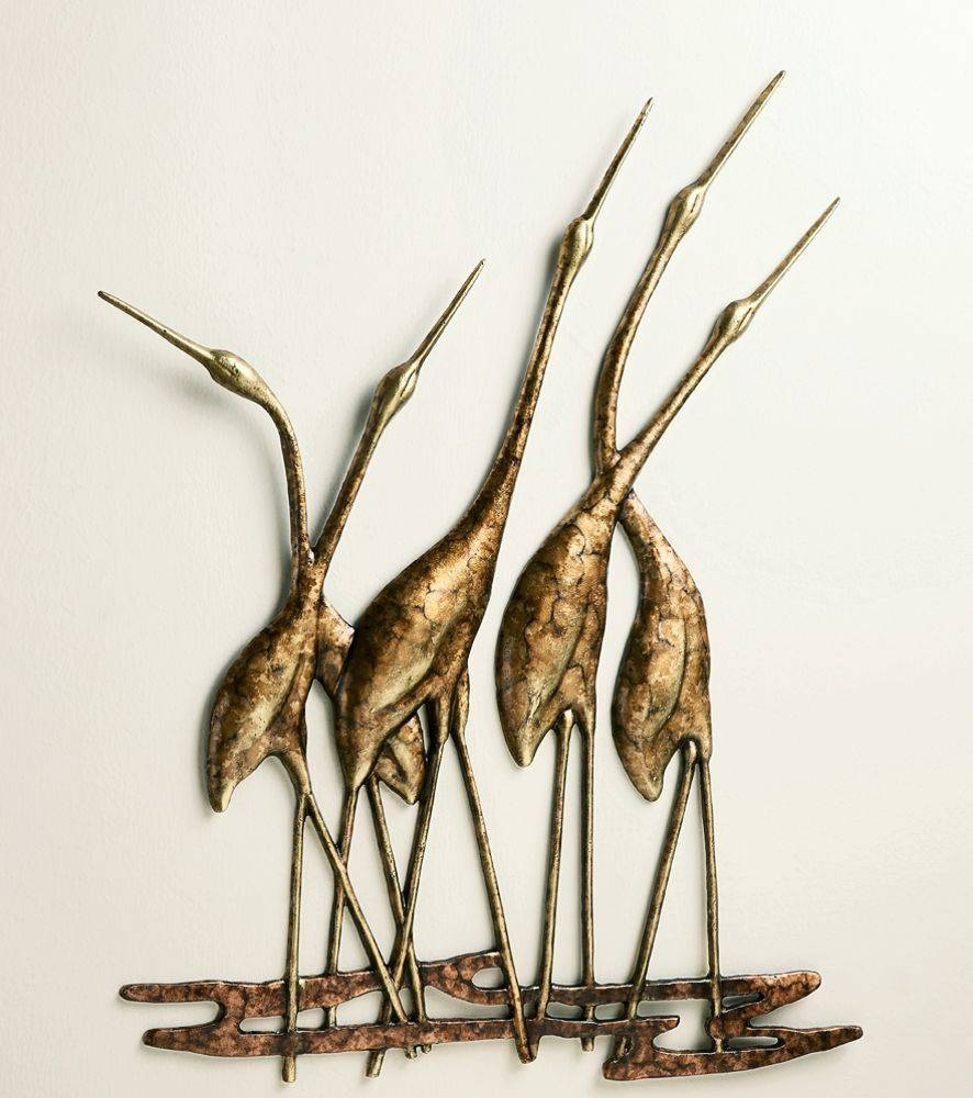 Crane Quintet Wall Art Sculpture Metal Heron Bird Gold & Bronze In Most Recently Released Gold Metal Wall Art (View 8 of 20)