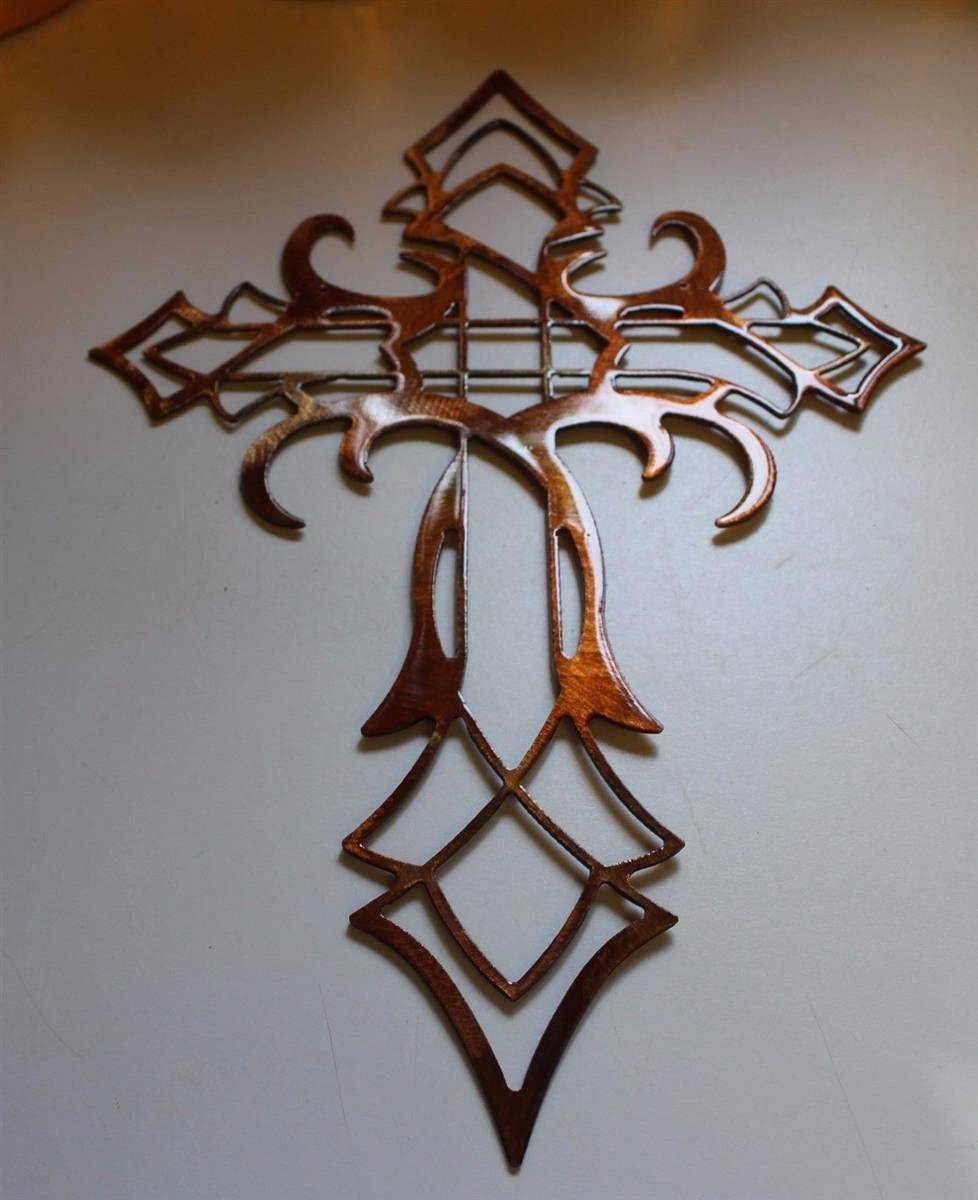Cross Metal Wall Art Decor Copper/bronze Plated In Newest Tall Metal Wall Art (View 5 of 20)