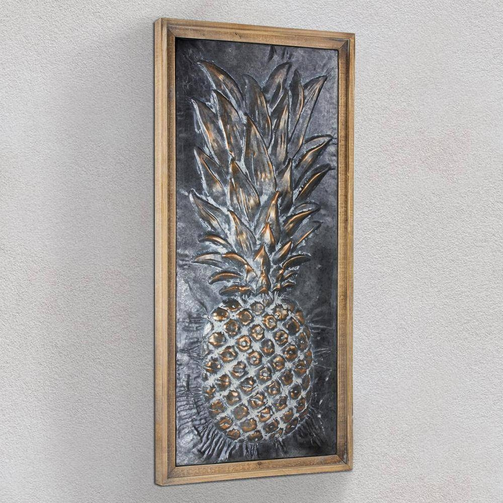 Crystal Art Gallery Metal Pineapple Framed Wall Art 160921web Regarding Most Recent Pineapple Metal Wall Art (View 7 of 20)