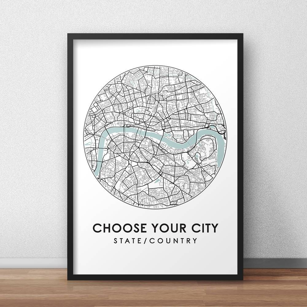 Custom City Print Street Map Art Custom Map Poster Custom In Best And Newest City Prints Map Wall Art (View 8 of 20)