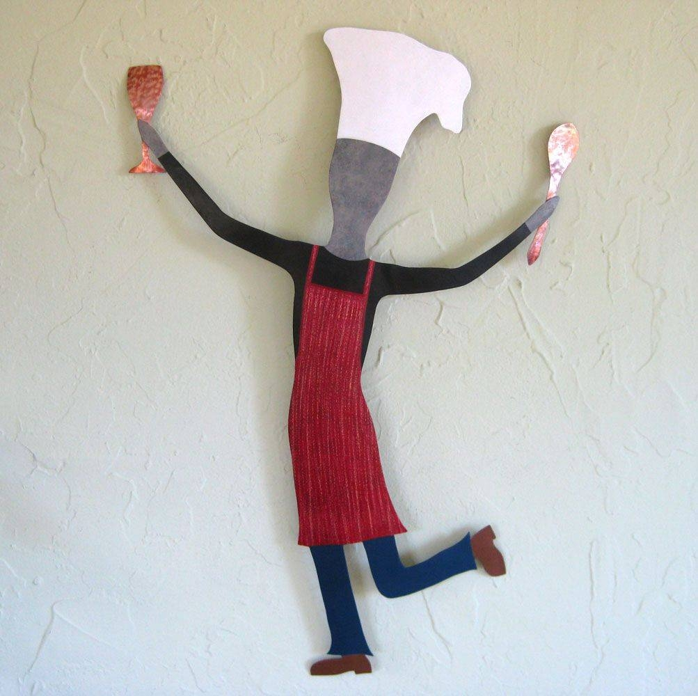 Custom Dancing Male Chef Metal Wall Art Sculpture Kitchen Wall Regarding Recent Metal Wall Art Dancers (View 5 of 20)