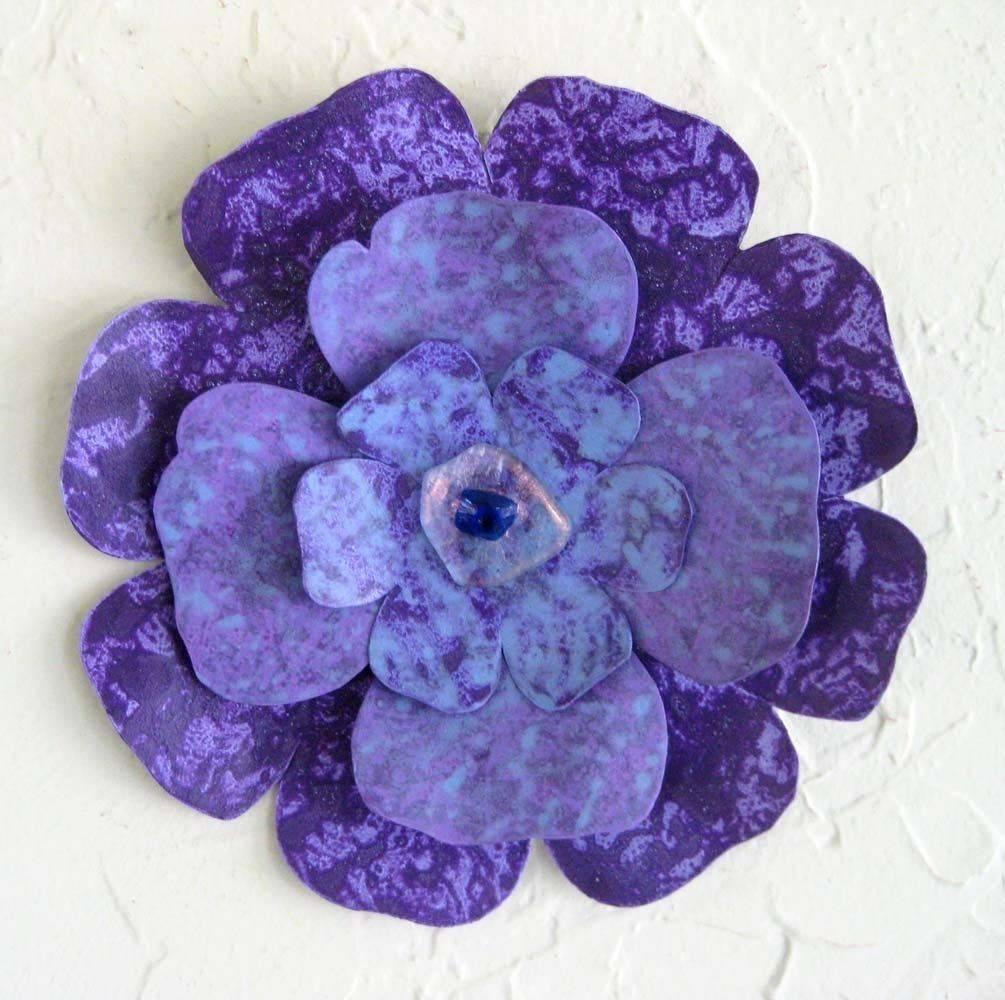 Custom Handmade Upcycled Metal Flower Wall Art In Blue, Purple With Regard To 2018 Purple Metal Wall Art (View 12 of 20)