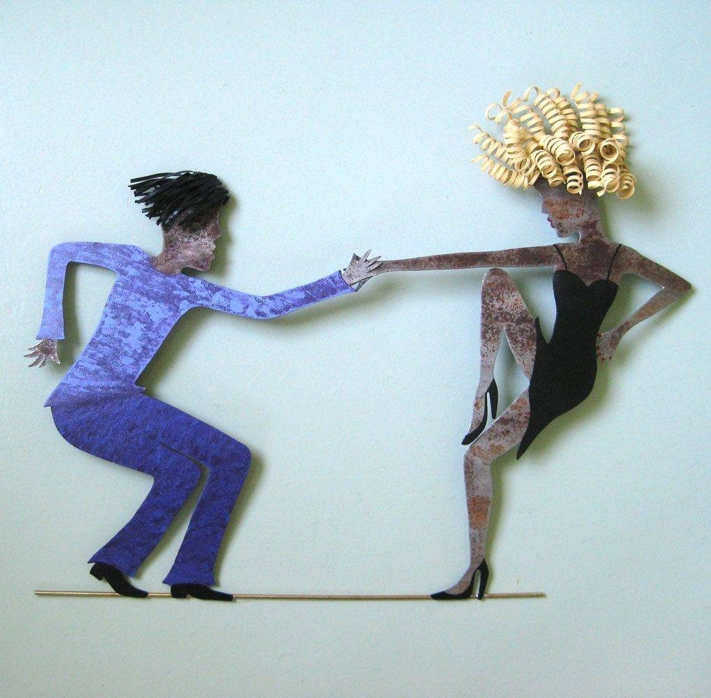 Custom Handmade Upcycled Metal Jazz Dancers Wall Art Sculpture Intended For 2017 Metal Wall Art Dancers (View 6 of 20)