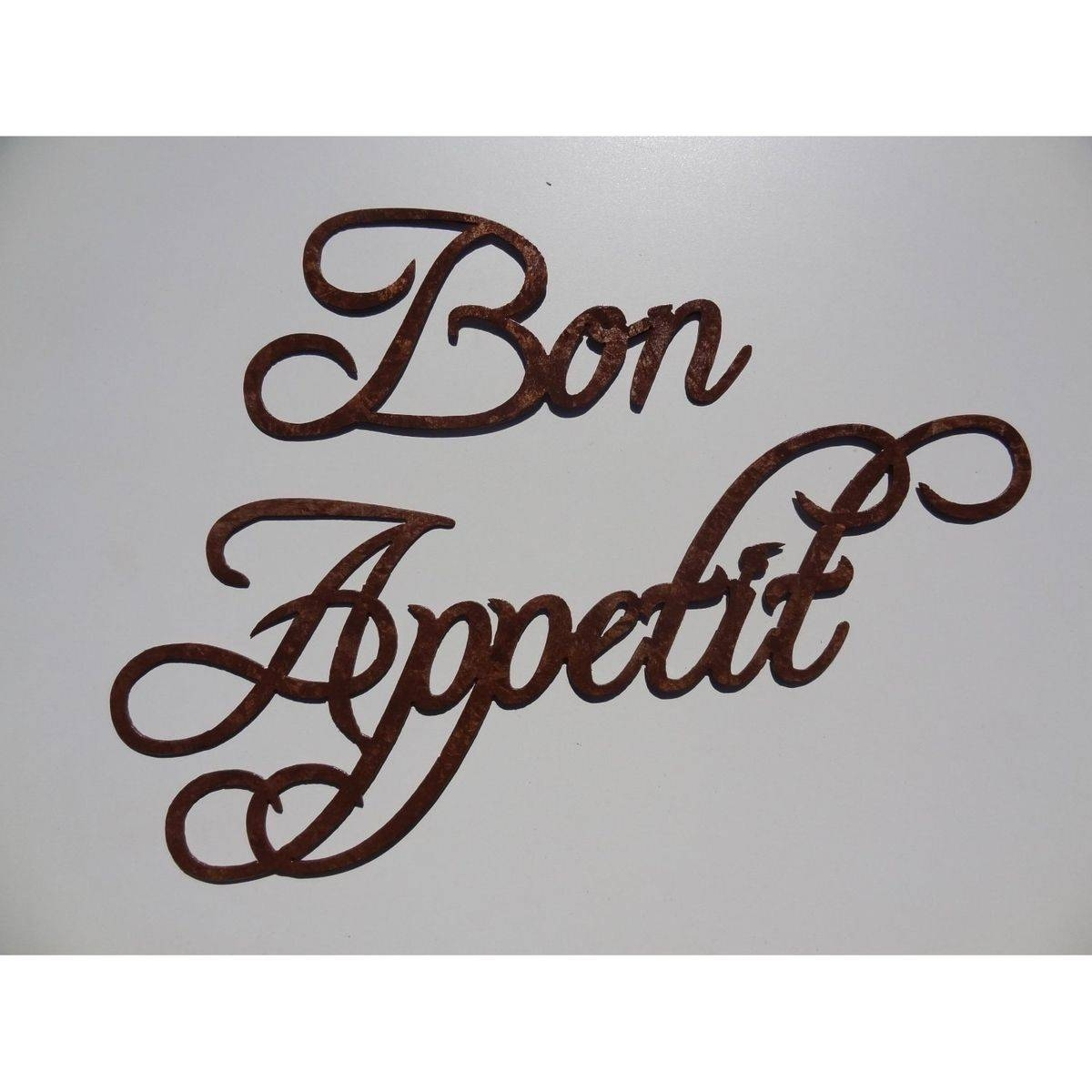 Custom Made Bon Appetit Words Large Metal Wall Art Antique Copper With Newest Metal Wall Art For Kitchen (View 3 of 20)