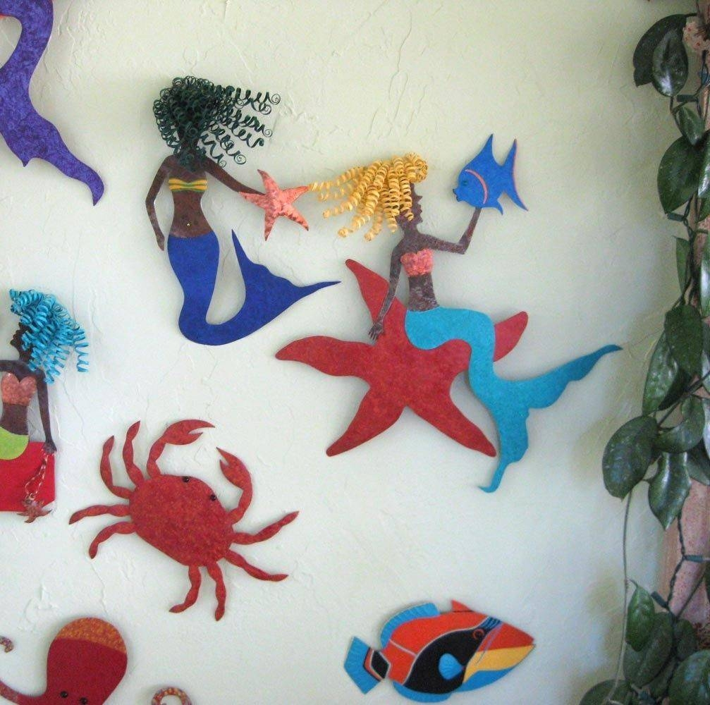 Custom Made Handmade Upcycled Metal Mermaid On Starfish Wall Art Regarding Recent Mermaid Metal Wall Art (View 2 of 20)
