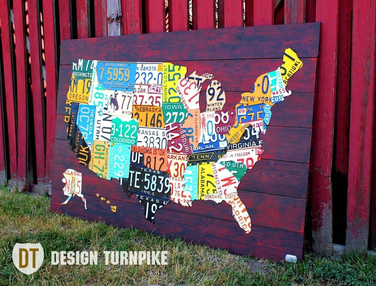 Custom Made License Plate Map Of The United Statesdesign In Best And Newest License Plate Map Wall Art (View 6 of 20)