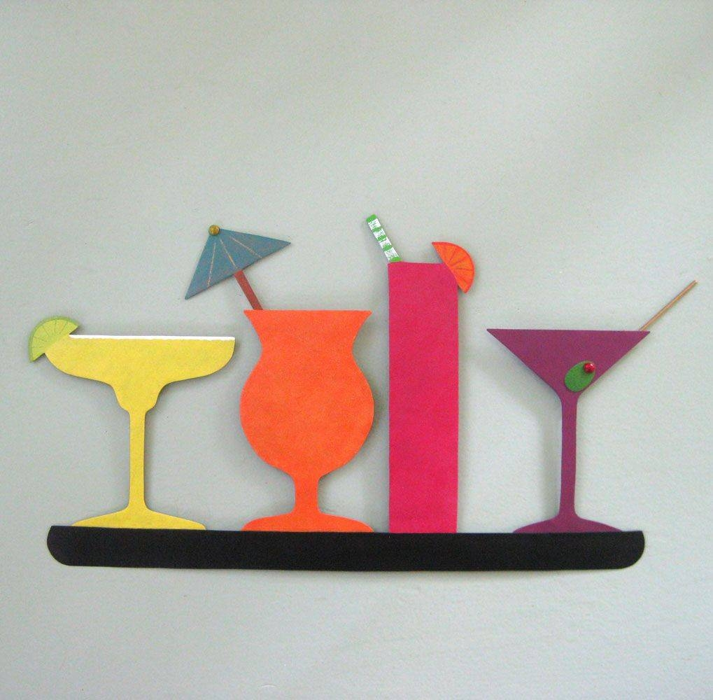 Custom Made Metal Art Sculpture Kitchen Wall Art Decor – Cocktail Regarding Most Popular Kitchen Metal Wall Art Decors (View 8 of 20)