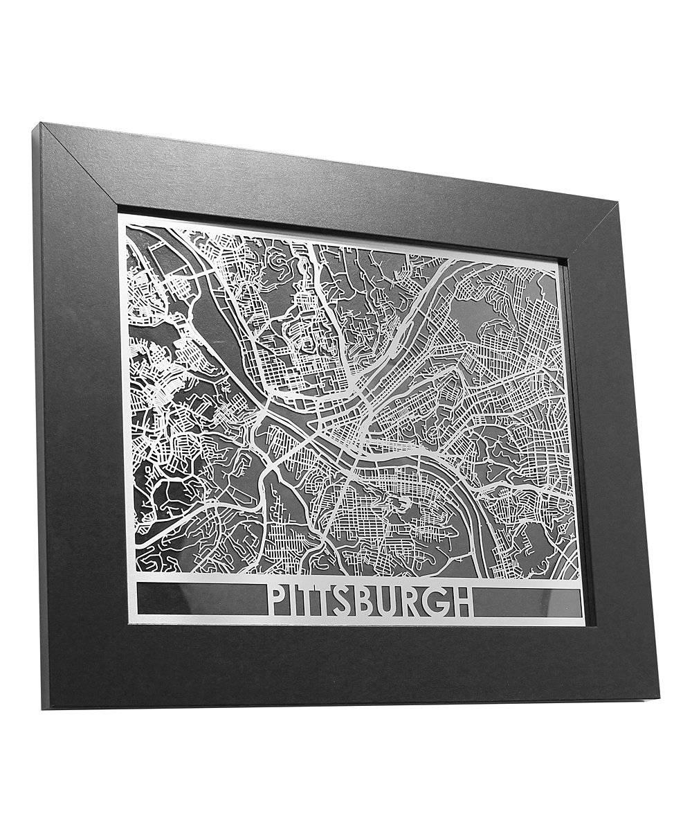 Cut Maps Pittsburgh Map Framed Wall Art | Zulily Regarding Newest Pittsburgh Map Wall Art (View 6 of 20)