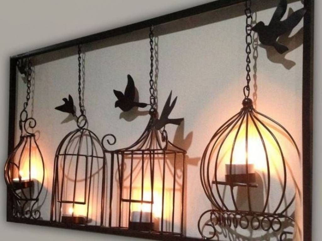 Decor 25 Birdcage Tea Light Wall Art Metal Wall Hanging Candle For Most Recent Metal Wall Art With Candles (View 4 of 20)