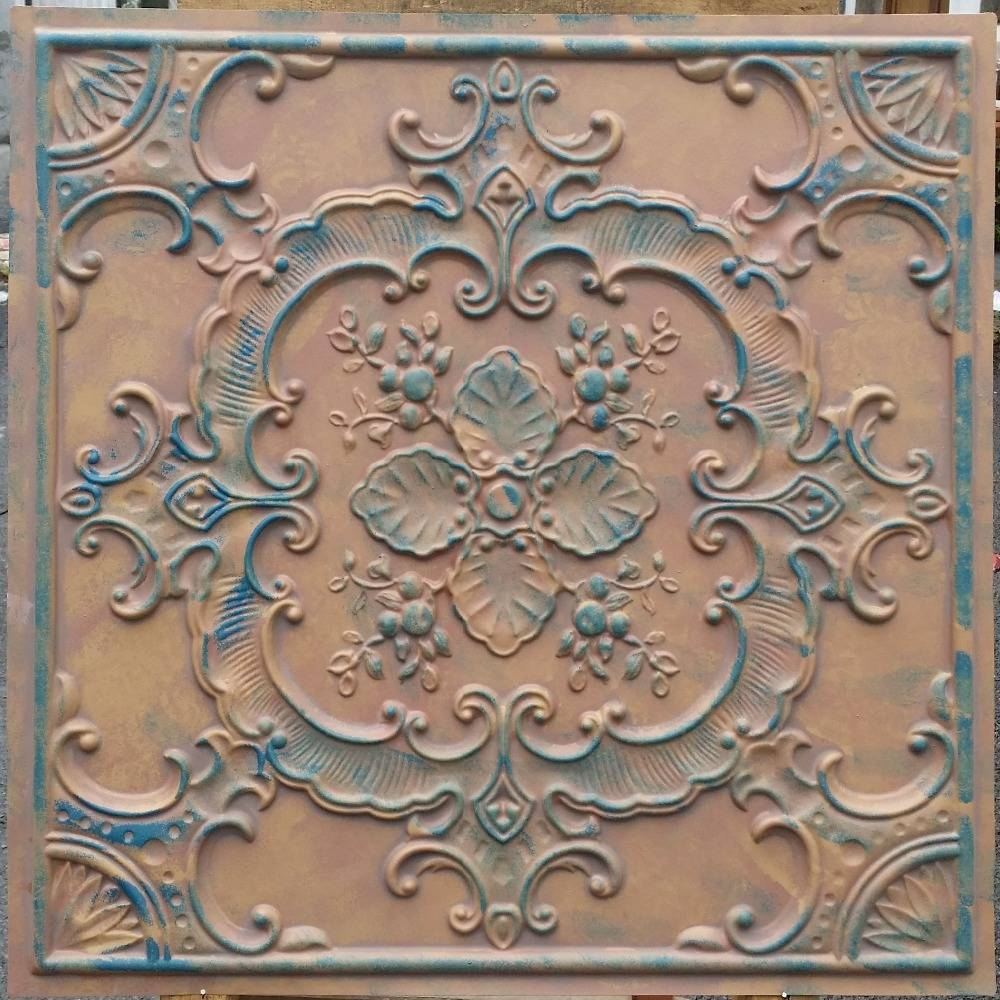 Decor: Faux Tin Ceiling Tiles With Worn Art Ceiling Tiles Artistic In Most Current Faux Metal Wall Art (View 3 of 20)