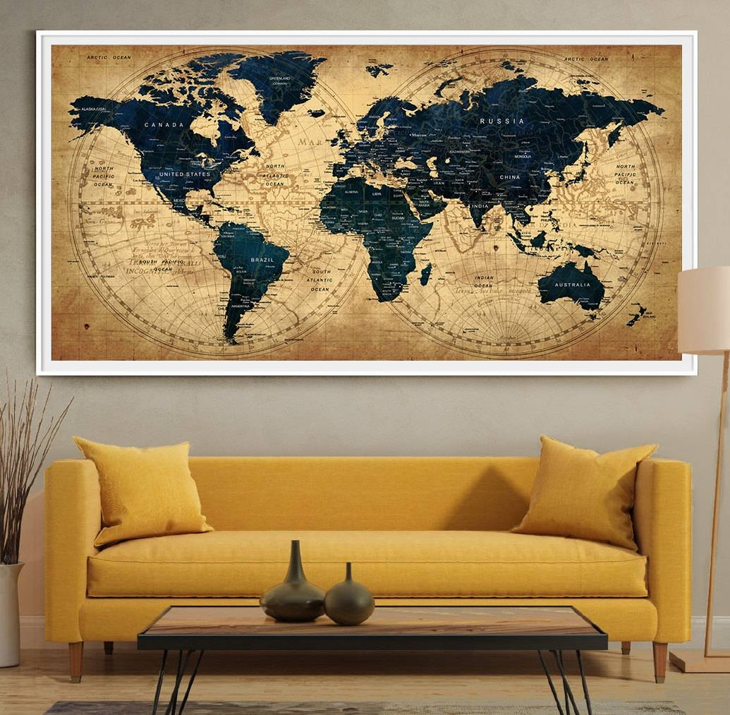 Decorative Extra Large World Map Push Pin Travel Wall Art with regard to Best and Newest World Map Wall Art