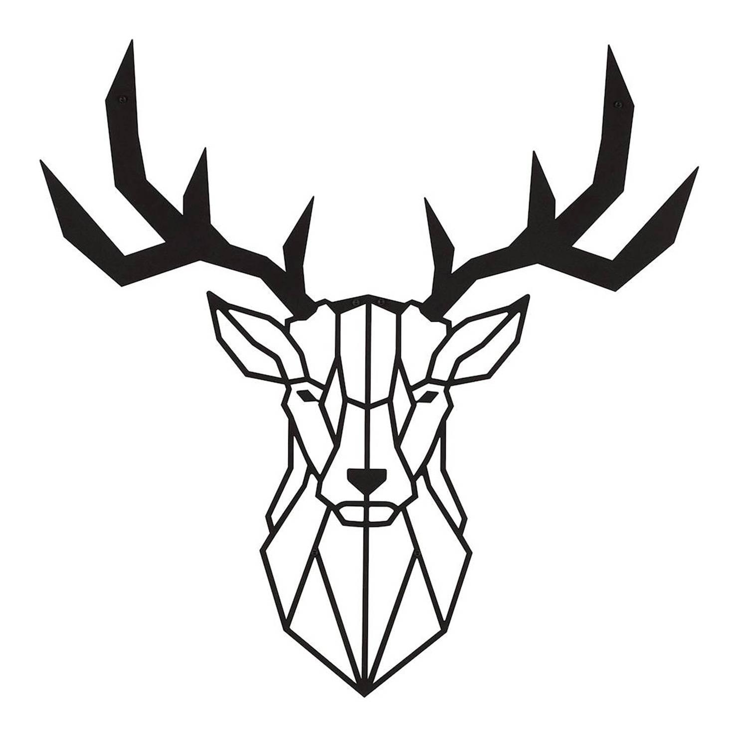 Deer Metal Wall Art, Black | Achica Throughout Best And Newest Deer Metal Wall Art (View 12 of 20)