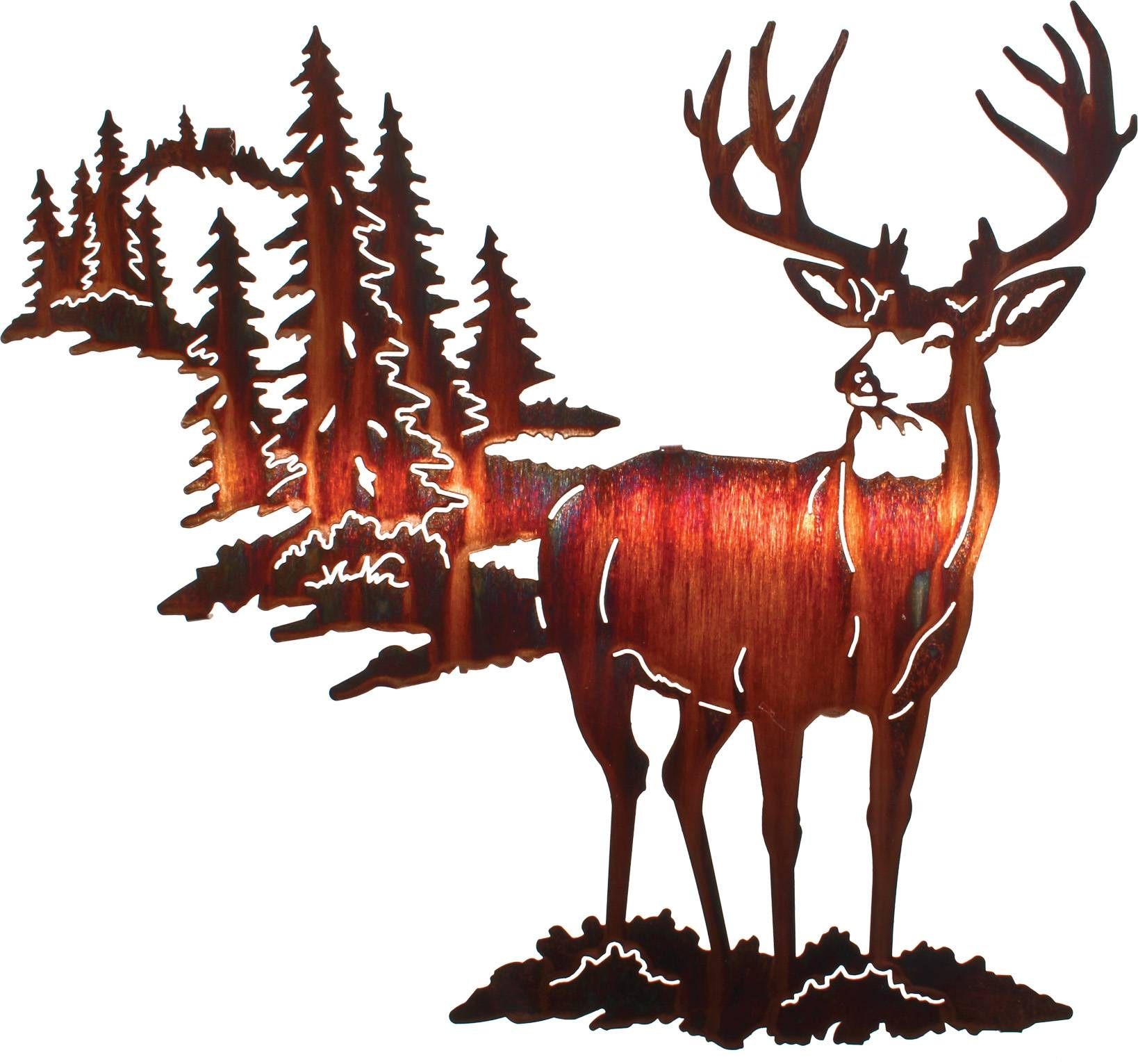 Deer Wall Art, Deer Wall Hangings, Metal Wall Sculptures Regarding Most Popular Laser Cut Metal Wall Art (View 3 of 20)