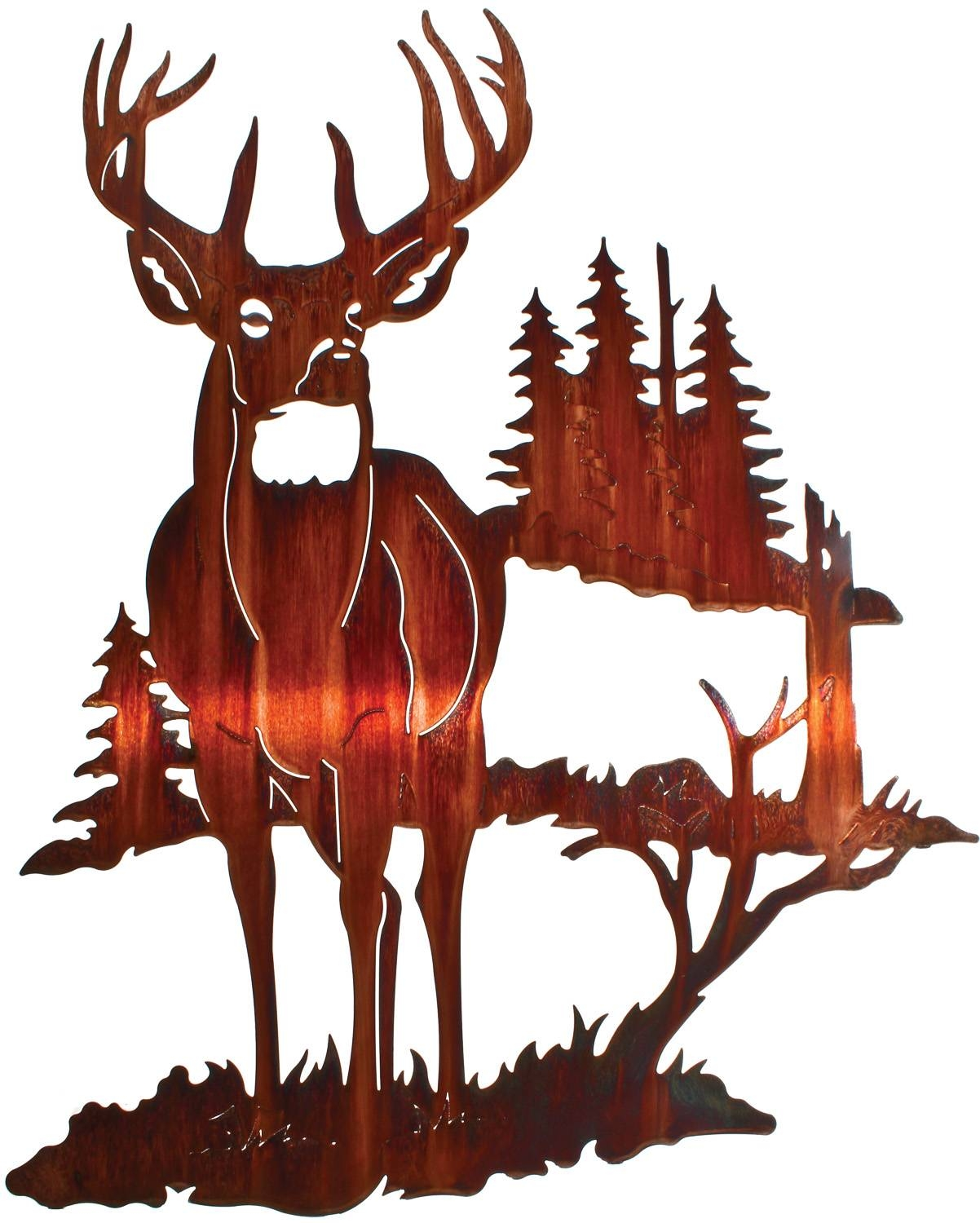 Deer Wall Art, Deer Wall Hangings, Metal Wall Sculptures Within Current  Wildlife Metal Wall