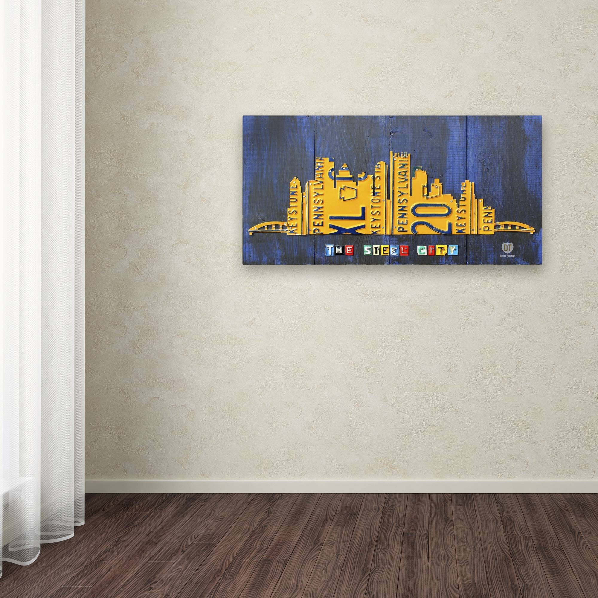 Design Turnpike 'pittsburgh Skyline' Canvas Wall Art – Free In Most Up To Date Pittsburgh Map Wall Art (View 10 of 20)
