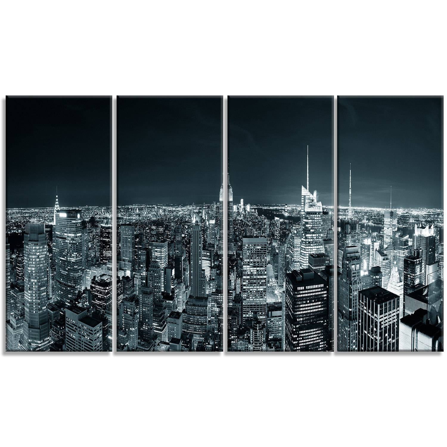 Designart 'new York City Skyline At Night' Cityscape Photo Metal Inside Most Up To Date New York City Skyline Metal Wall Art (View 2 of 20)
