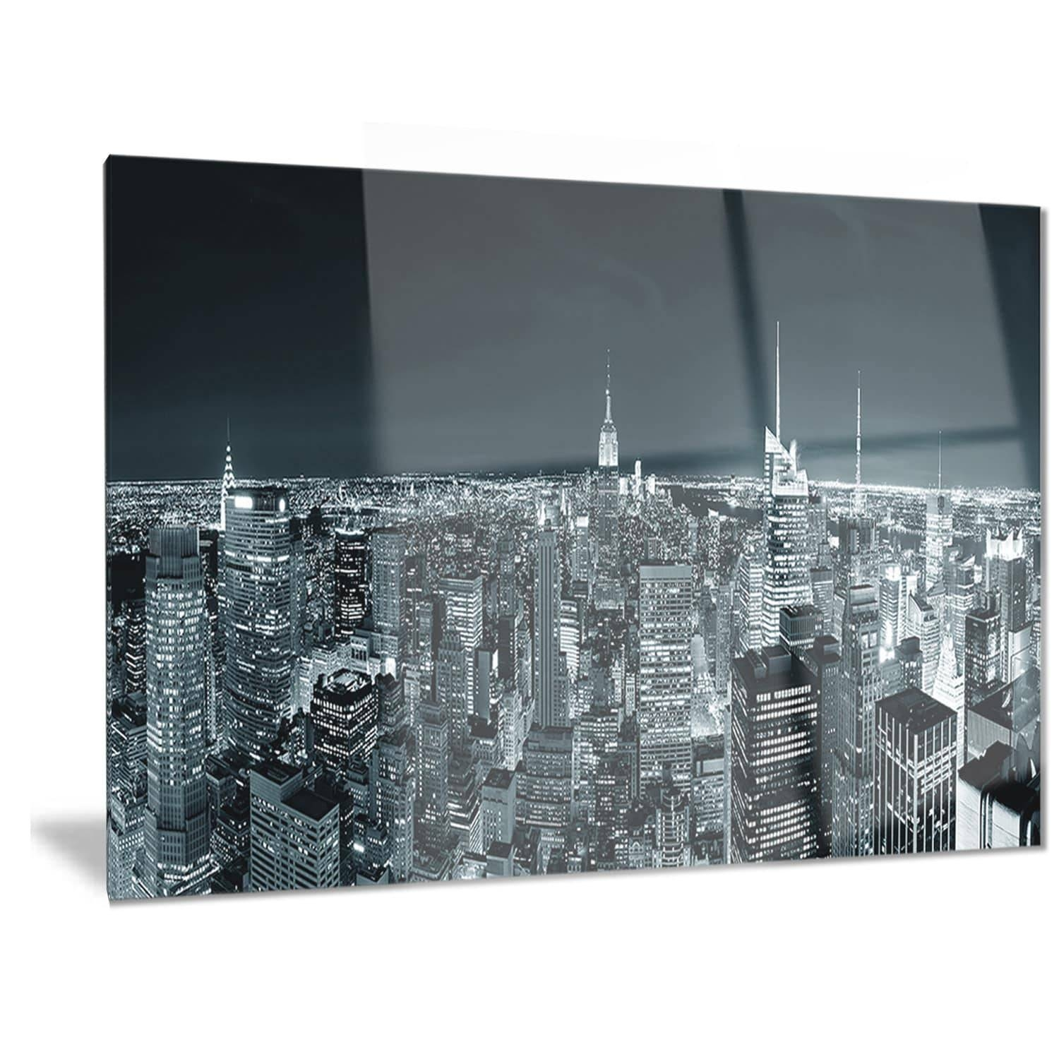 Designart 'new York City Skyline At Night' Cityscape Photo Metal With Regard To Most Up To Date New York City Skyline Metal Wall Art (View 3 of 20)