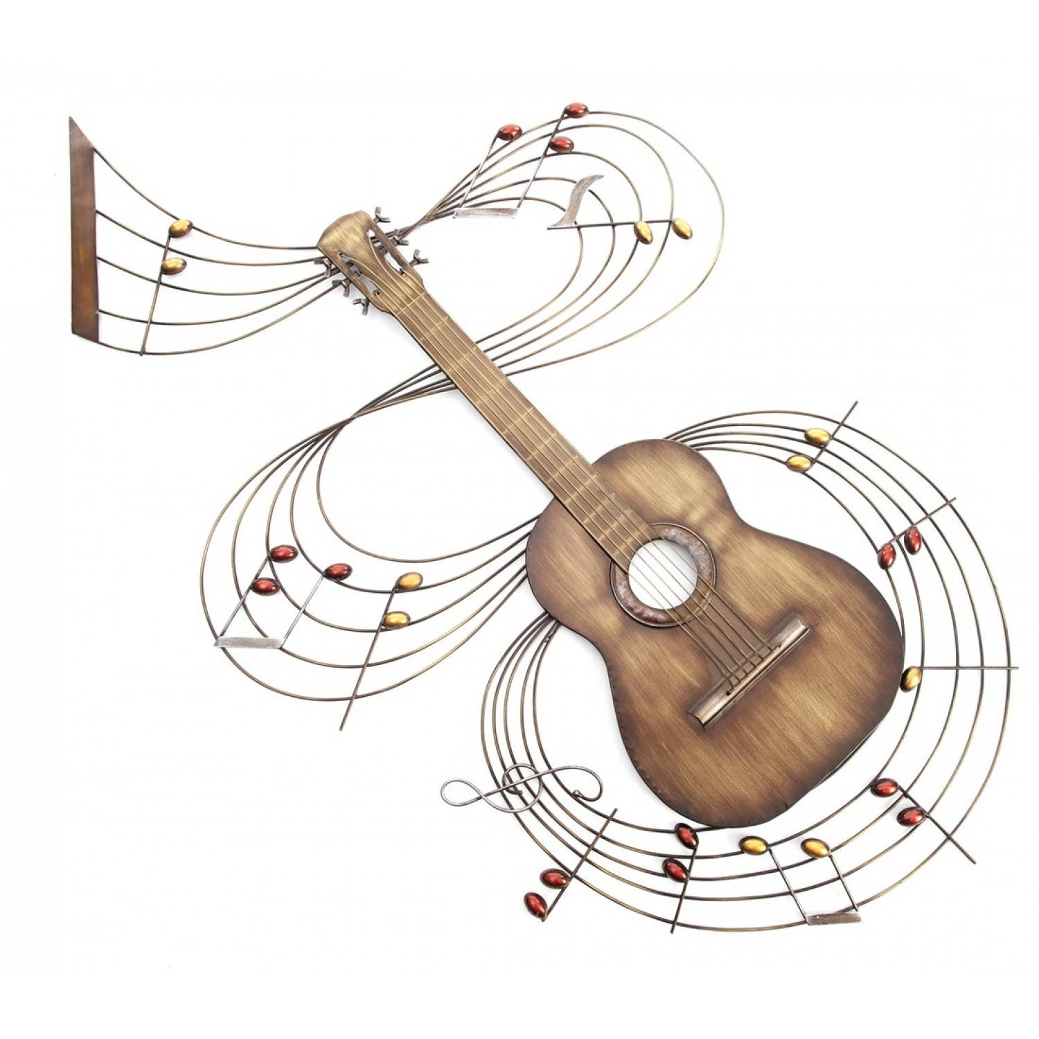 Designer Guitar With Musical Notes Metal Wall Art – Super Tech In 2018 Musical Instruments Metal Wall Art (View 19 of 20)